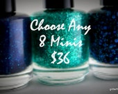 Glitter Nail Polish Mini mix and match 5 free nail polish vegan cruelty free handmade indie nail polish shower favor wedding favor