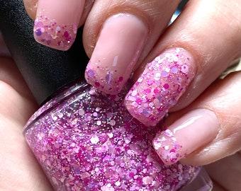 May Flowers - Fuchsia magenta orchid, glitter nail polish, pink glitter nails, 5 free, spring nail polish, vegan nail polish, floral nail
