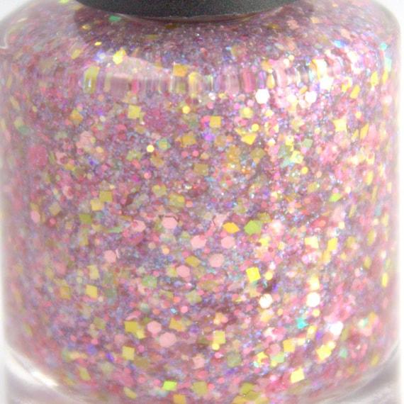 Opal Glitter Nail Polish: Pink Opal Iridescent Pink Glitter Nail Polish Pink Gold