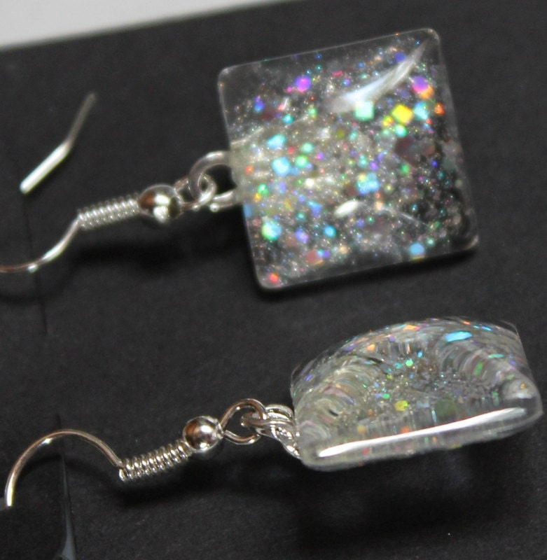 Silver Holographic Glitter Earrings Nail Polish Jewelry