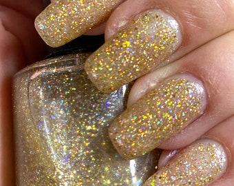 Halo - gold holographic glitter nail polish, gold glitter topper, 5 free handmade nail polish, indie nail polish vegan cruelty free