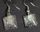 Silver holographic glitter earrings glitter nail polish jewelry dangle sparkly fishhook style