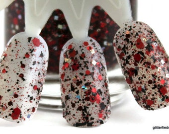 Wild Card - Red Black Silver Holographic Glitter Nail Polish Team Spirit 5 free nail polish handmade indie nail polish vegan cruelty free