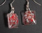 red gray earrings ohio state buckeyes colors holographic sparkle glitter earrings Team Spirit fan gear