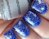 Andromeda -Holographic Iridescent Glitter Nail Polish Silver Stars nail polish handmade indie nail polish vegan cruelty free nail