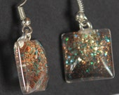 Copper and turquoise glitter earrings glitter nail polish jewelry sparkly fishhook style