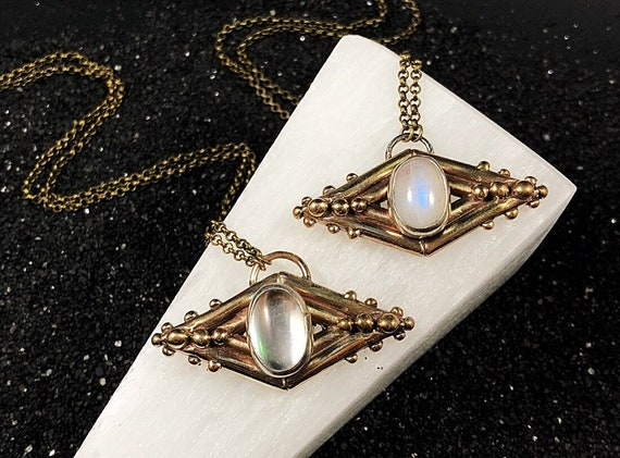 Statement Necklace Labradorite Wadjet Necklace Goddess Jewelry Bronze Triangle Necklace