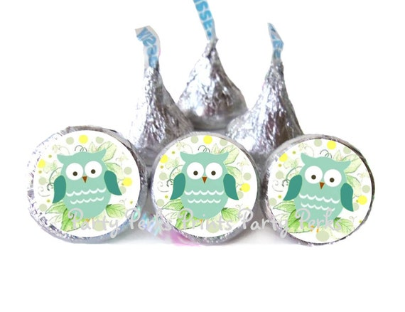 Party Labels Blue or Yellow Party Favors Baby Shower Pink Owl Sweet Baby Baby Shower Hersheys Kisses Stickers Baby Shower Decorations