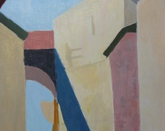 "Acrylic painting of semi-abstract scene in Volterra, Italy, ""Volterra"""