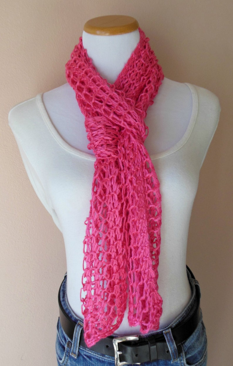 Hot Pink Scarf Hand Knit Lacy Open Weave Light Weight ...