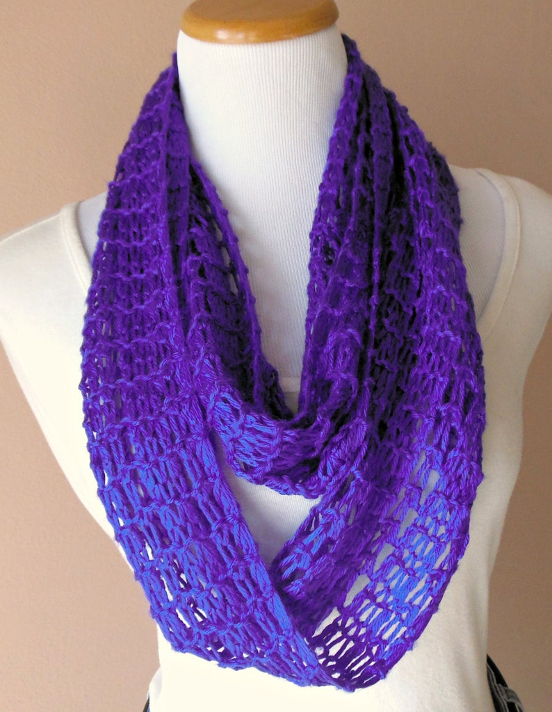 Purple Infinity Scarf Hand Knit Light Weight Lacy Open ...