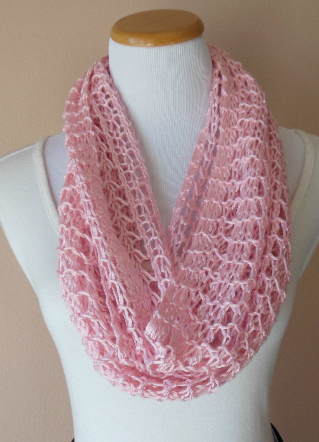 Pink Infinity Scarf Hand Knit Light Weight Lacy Open Weave