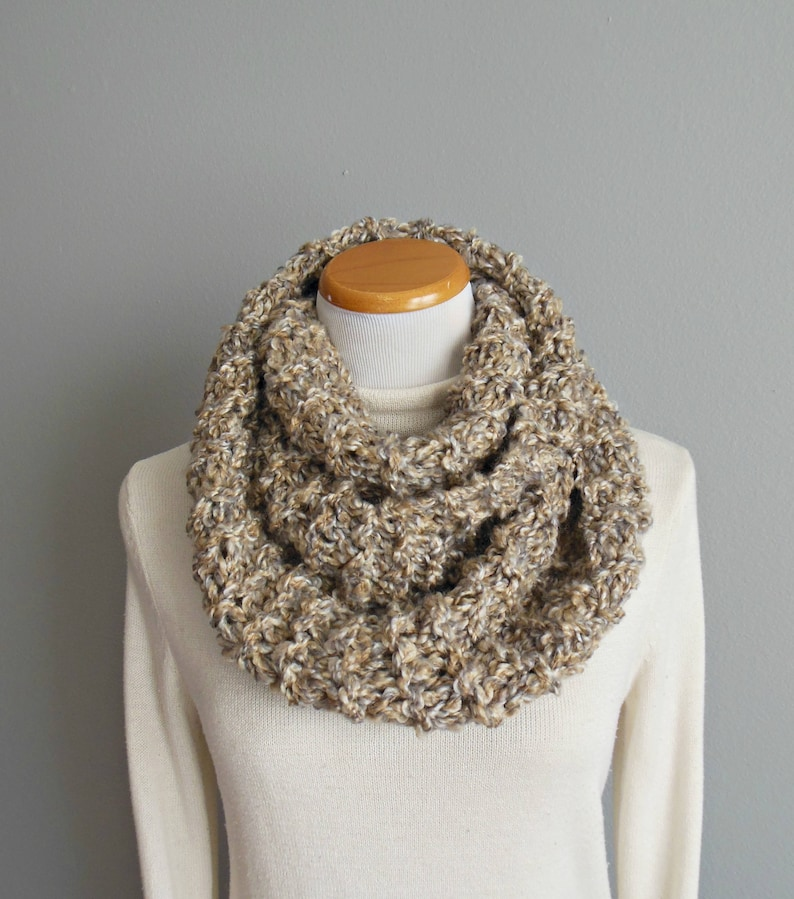 Multicolored Infinity Scarf Cream Caramel Taupe Grey Thick & image 0