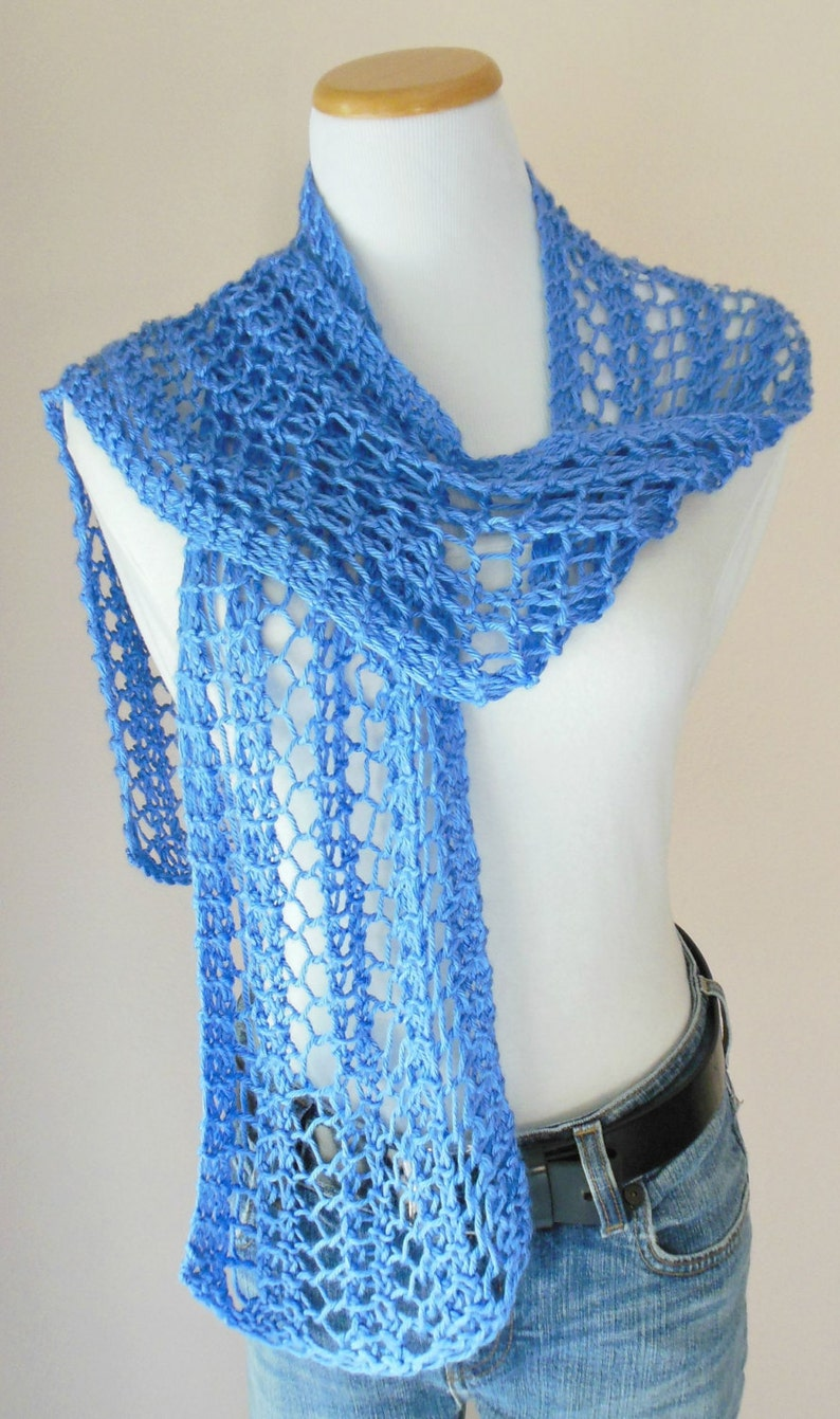 Periwinkle Blue Scarf Hand Knit Light Weight Lacy Open ...