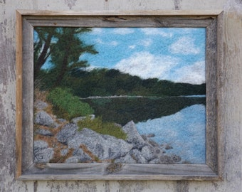 Sunfish Pond - Original Felted Wool Art of Southernmost Glacial Lake Landscape from the Appalachian Trail in New Jersey