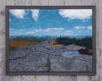 Maine Felted Wool Art of Mahoosuc Mountains Landscape on Appalachian Trail   Looking Down on Creation   original, statement piece for cabin