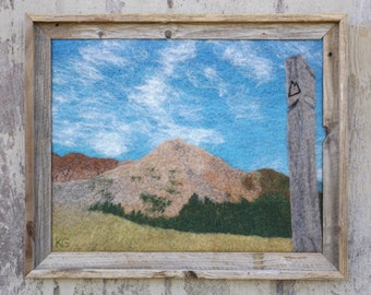 """Georgia Pass - Original Wool Felt Art Painting from Rocky Mountains on the Colorado Trail, 20""""x16"""", rustic frame"""