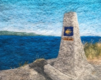 0.00 K.M. - Original Felted Wool Art of End of Camino de Santiago Hiking Trail in Finisterre, Spain