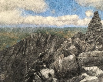 The Knife's Edge - Original Felted Wool Art from Mount Katahdin in Baxter State Park on the Appalachian Trail in Maine