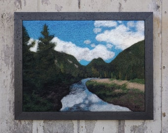 Marcy Dam - Original Felted Wool Art Landscape from Adirondack Mountains in New York, Mount Marcy