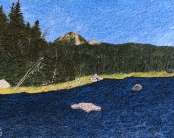 Lake Tear of the Clouds - Original Felted Wool Art from Mount Marcy and the Adirondack Mountains in New York