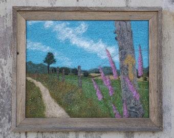 "Dedalera del Primitivo - Wool Felt Art Painting from the Camino de Santiago in Spain, 20""x16"""