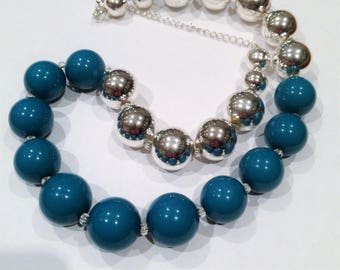 Necklace - blue and silver beads necklace