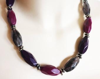 Necklace - funky plastic beads purple grey black costume jewellery necklace