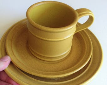 Vintage Portmeirion pottery cup saucer and tea plate trio - RARE saffron Meridian pattern Susan Williams Ellis