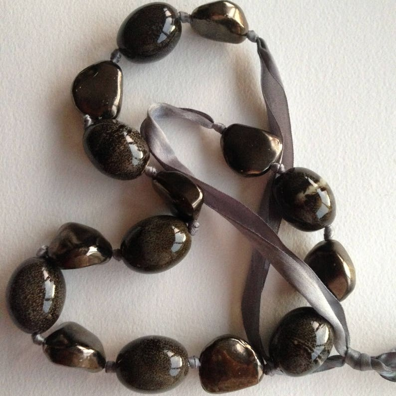 very chunky ceramic pebbles necklace Necklace