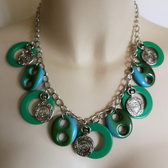 Necklace funky marbled green plastic beaded necklace and matching bracelet