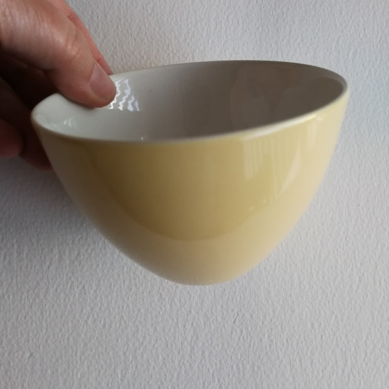 Vintage discontinued Poole pottery yellow coloured white lined great shape
