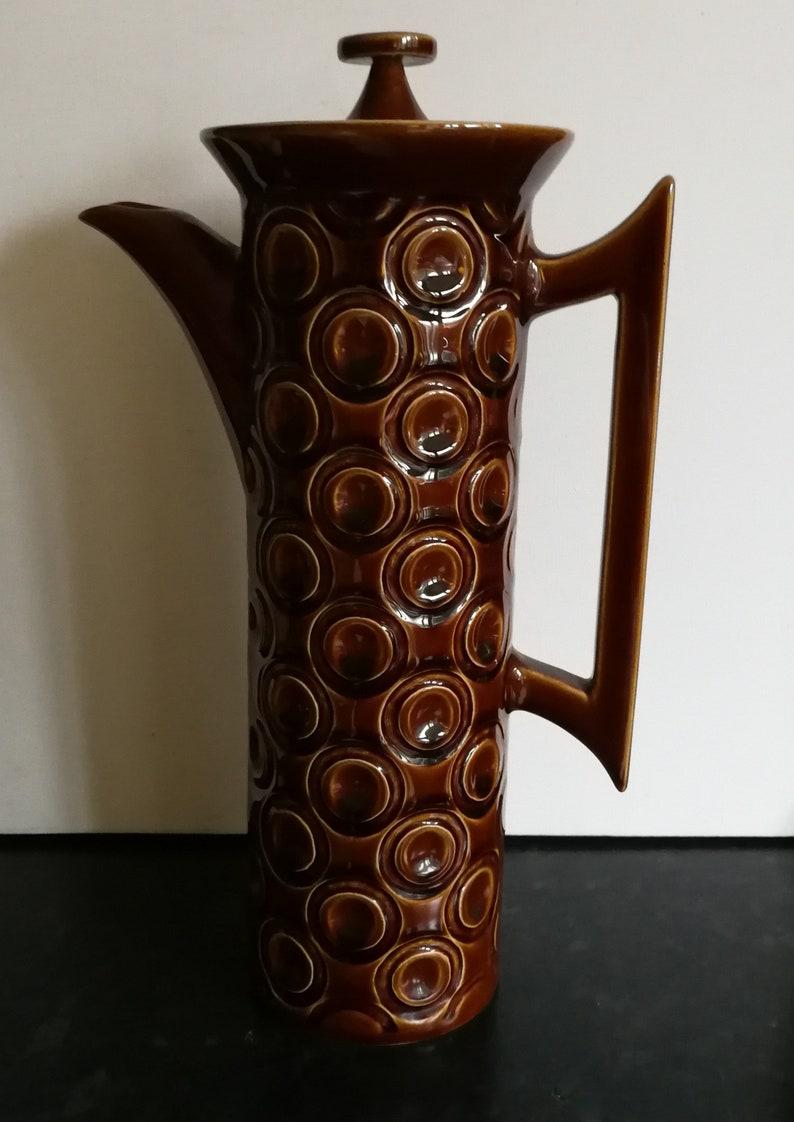 Portmeirion retro 1964 Portmeirion treacle colour Jupiter pattern pottery coffee pot