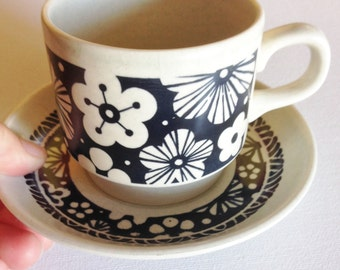 Vintage retro funky floral pottery cup and saucer blue floral Bilton 1970s