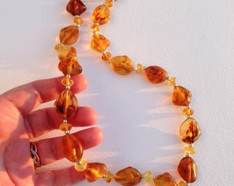 Necklace - amber plastic beaded necklace