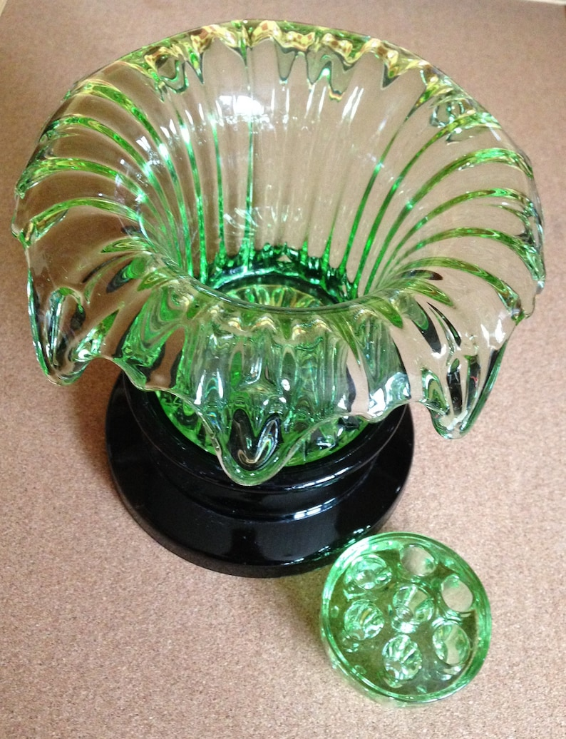 Sowerby Art Deco Glass Vase Sowerby Iris Green Glass Vase 1930s Glass Art Glass