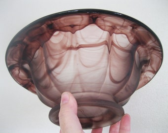 Vintage Davidson cloud glass bowl purple swirl tiniest flea bite to base otherwise perfect