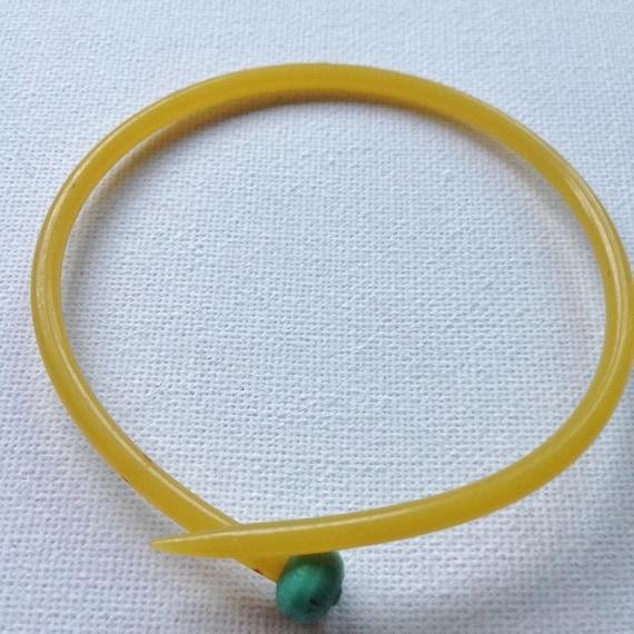 internal diameter is 70mm Funky handmade vintage slim orange early plastic knitting needle bangle orange knob Bangle