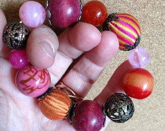 Bracelet - mixed bead necklace red pink colourful unusual beads