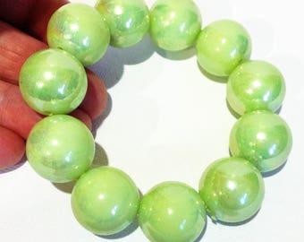 Bracelet  - lime green lustrous large round plastic beaded high quality bracelet