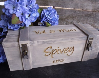 Wedding Wine Box, Rustic Wedding Wine Box, Wine Box, Anniversary Gift, Wedding Gift, Love Letter Box, Wine Ceremony