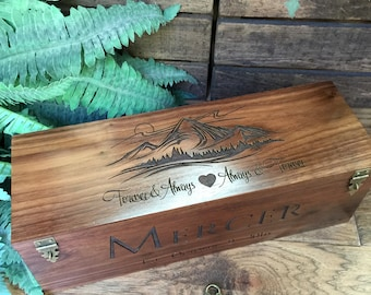 Wine Box, Wedding Gift, Custom Wine Box, Wine Box Ceremony, Mountains, Forever and Always