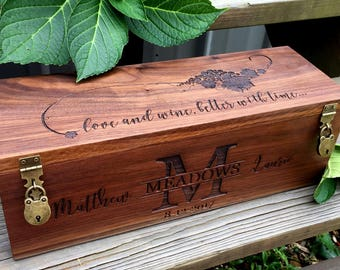 Wine Box, Wedding Wine Box, Gift for Bride and Groom, Wedding Gift, Personal Gift, Love Letter Box, Personalized, Custom.Hand Crafted, USA