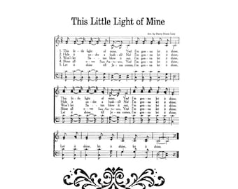 This Little Light Of Mine Hymn Digital Sheet Music Home Decor Inspirational  Gift Do It Yourself Baby Gift Nursery Grandchild Boy Girl