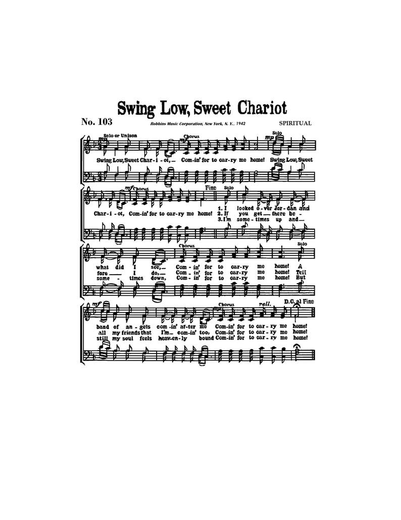 Swing Low Sweet Chariot Spiritual Sheet Music Digital Gospel England Rugby  Funeral African American Oklahoma Choctaw Civil Rights Christian