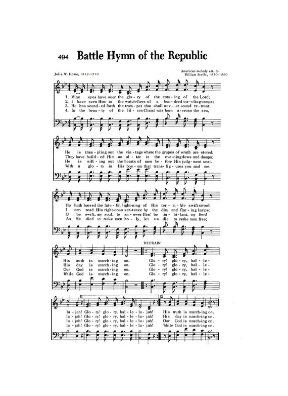 Battle Hymn of the Republic Christian Digital Sheet Music Civil War  Patriotic Soldier Inspirational Lincoln DIY American Heritage Military