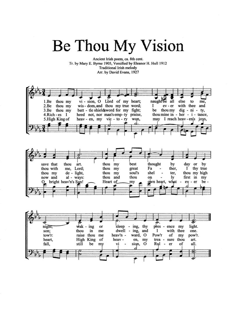 photograph about Printable Hymns Sheet Music referred to as Be Thou My Eyesight Printable Hymn Sheet Tunes - Electronic Christian Inspirational Artwork