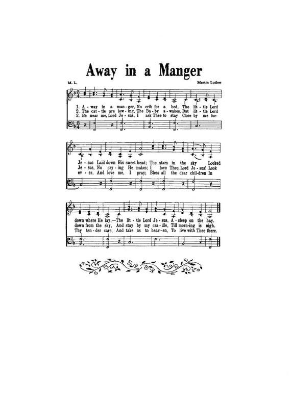 Away In A Manger Hymn Digital Sheet Music Christmas Martin Luther Gift Diy Craft Wall Art Children Baby Holiday Nursery Grandchild Boy Girl