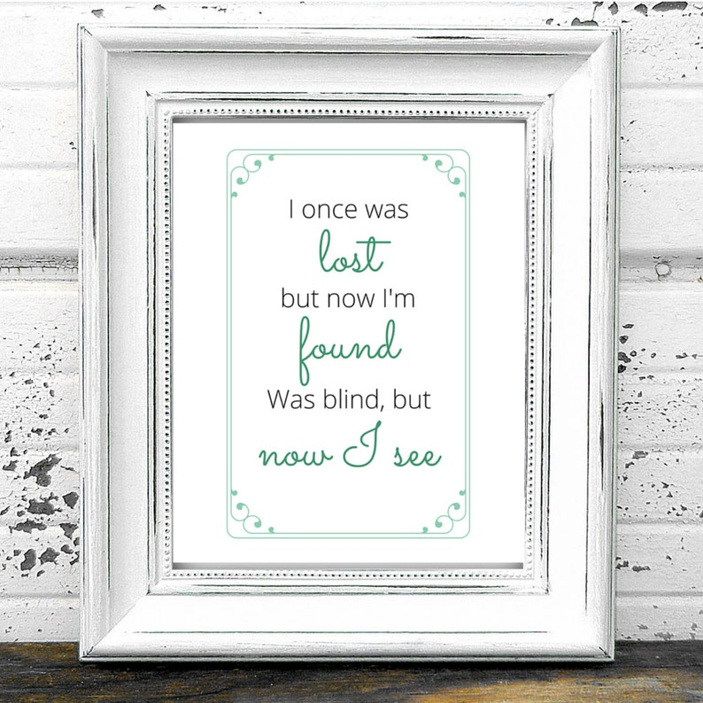 Amazing Grace Printable Hymn Quote Art Digital Download I Etsy