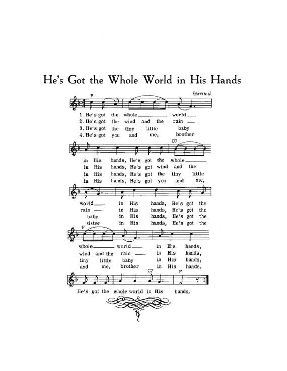 He's Got the Whole World in His Hands Hymn Digital Sheet Music Art Gift Do  It Yourself Children Baby Gift Nursery Grandchild Boy Girl